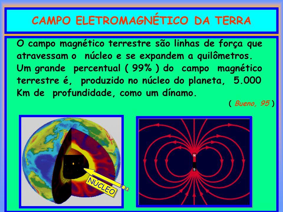 CAMPO ELETROMAGNÉTICO DA TERRA O campo magnético terrestre são linhas de força que atravessam o núcleo e se expandem a quilômetros. Um grande percentu