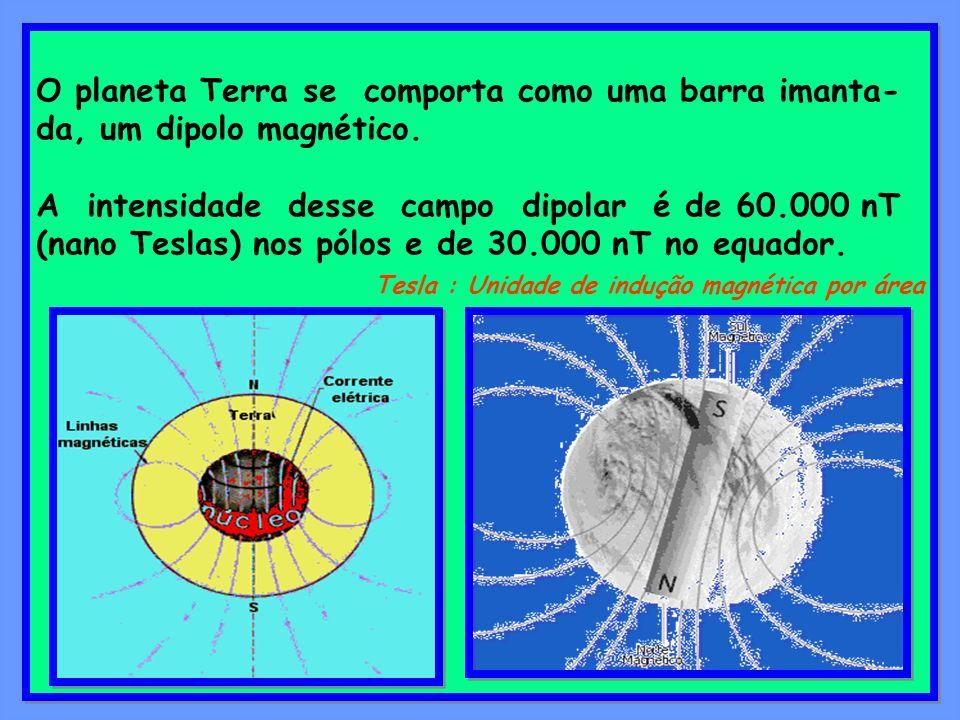 O planeta Terra se comporta como uma barra imanta- da, um dipolo magnético. A intensidade desse campo dipolar é de 60.000 nT (nano Teslas) nos pólos e