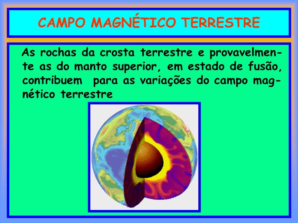 CAMPO MAGNÉTICO TERRESTRE As rochas da crosta terrestre e provavelmen- te as do manto superior, em estado de fusão, contribuem para as variações do ca