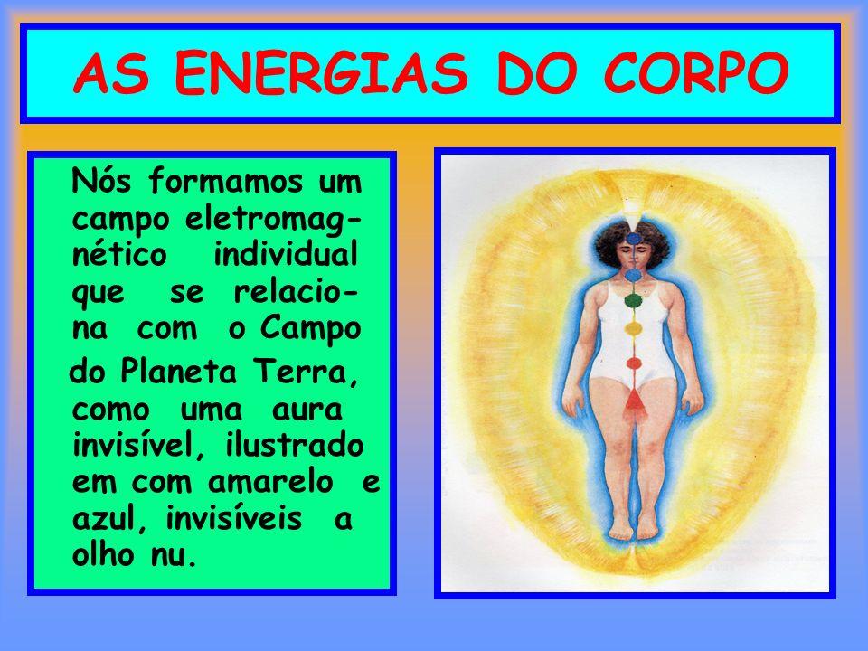 AS ENERGIAS DO CORPO Nós formamos um campo eletromag- nético individual que se relacio- na com o Campo do Planeta Terra, como uma aura invisível, ilus