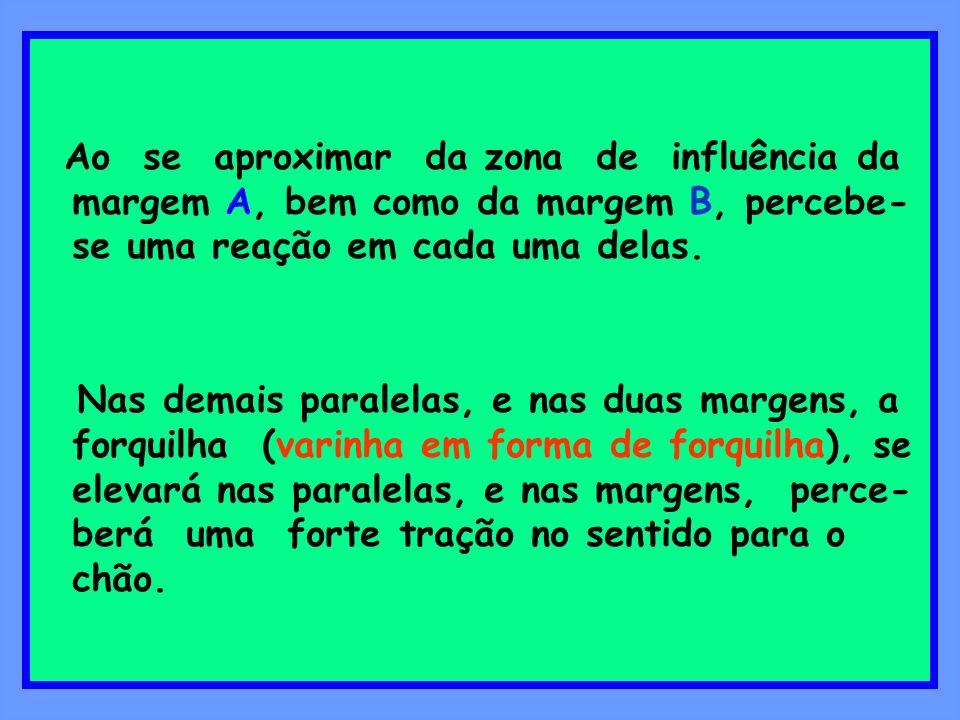 Ao se aproximar da zona de influência da margem A, bem como da margem B, percebe- se uma reação em cada uma delas. Nas demais paralelas, e nas duas ma
