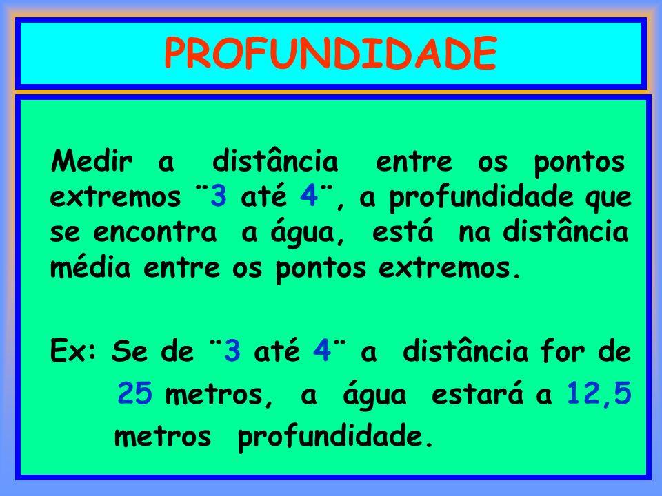 PROFUNDIDADE Medir a distância entre os pontos extremos ¨3 até 4¨, a profundidade que se encontra a água, está na distância média entre os pontos extr