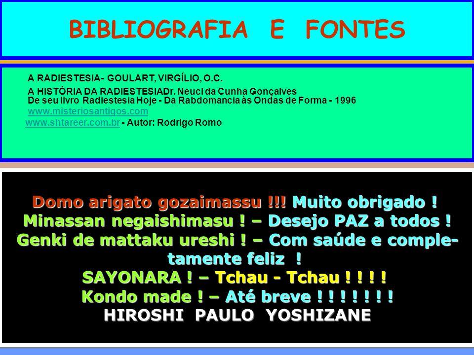 BIBLIOGRAFIA E FONTES A RADIESTESIA- GOULART, VIRGÍLIO, O.C. A HISTÓRIA DA RADIESTESIADr. Neuci da Cunha Gonçalves De seu livro Radiestesia Hoje - Da