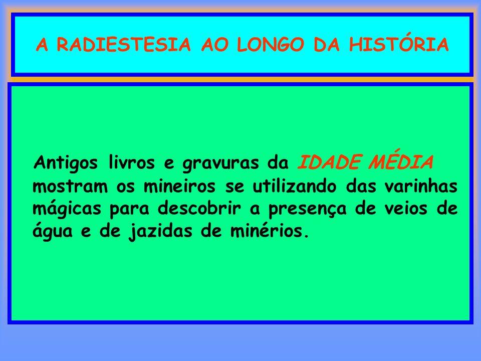 A RADIESTESIA AO LONGO DA HISTÓRIA Antigos livros e gravuras da IDADE MÉDIA mostram os mineiros se utilizando das varinhas mágicas para descobrir a pr