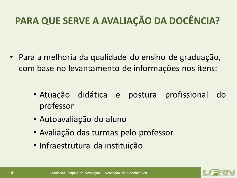 Comissão Própria de Avaliação – Avaliação da Docência 2011 4 O professor, ao consolidar a turma; O aluno, até o período da rematrícula no semestre seguinte.