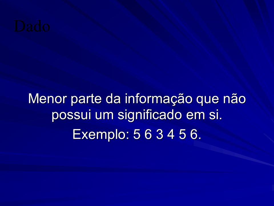 Dado Menor parte da informação que não possui um significado em si. Exemplo: 5 6 3 4 5 6.