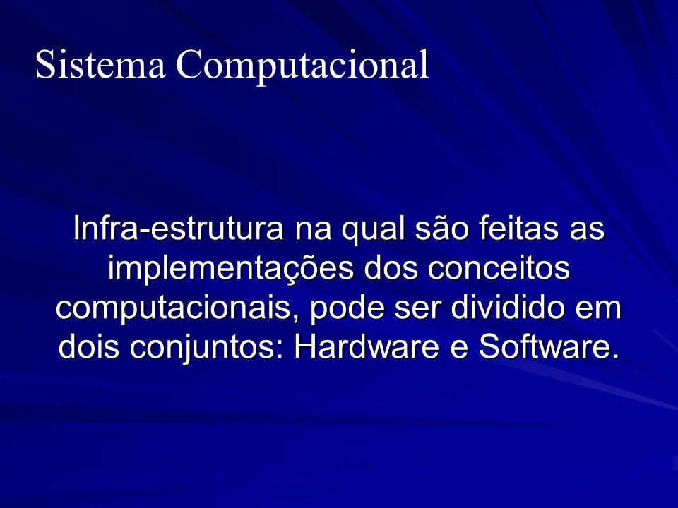 Sistema Computacional Infra-estrutura na qual são feitas as implementações dos conceitos computacionais, pode ser dividido em dois conjuntos: Hardware