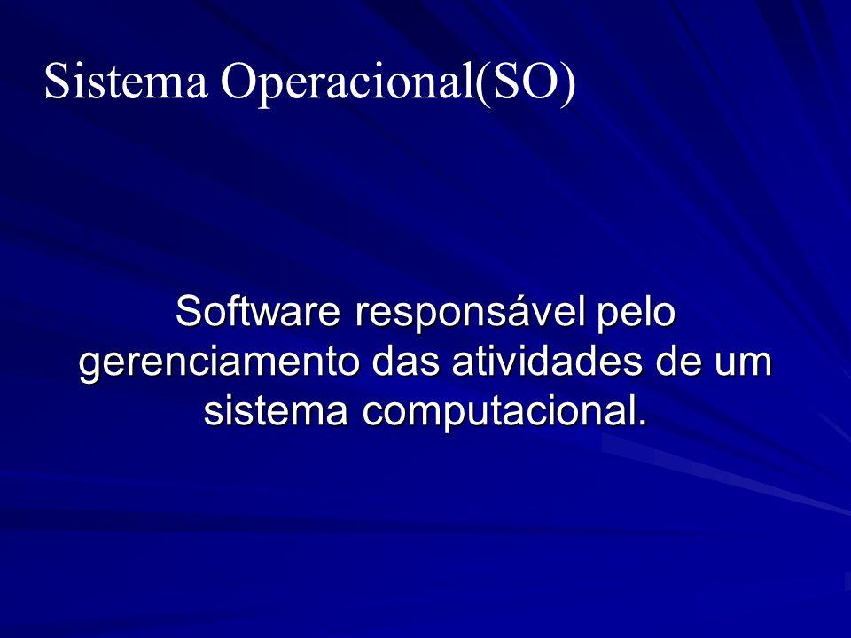 Sistema Operacional(SO) Software responsável pelo gerenciamento das atividades de um sistema computacional.