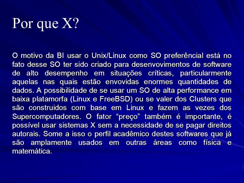 Por que X? O motivo da BI usar o Unix/Linux como SO preferêncial está no fato desse SO ter sido criado para desenvovimentos de software de alto desemp