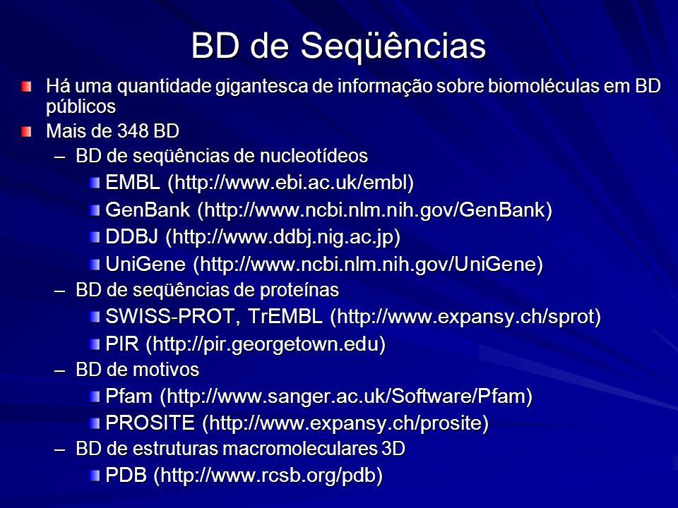 BD de Seqüências Há uma quantidade gigantesca de informação sobre biomoléculas em BD públicos Mais de 348 BD –BD de seqüências de nucleotídeos EMBL (h