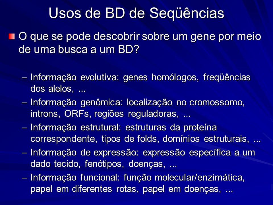 Usos de BD de Seqüências O que se pode descobrir sobre um gene por meio de uma busca a um BD? –Informação evolutiva: genes homólogos, freqüências dos