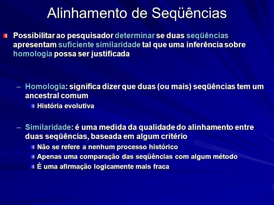 Alinhamento de Seqüências Possibilitar ao pesquisador determinar se duas seqüências apresentam suficiente similaridade tal que uma inferência sobre ho