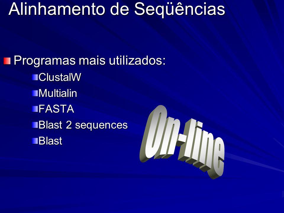 Alinhamento de Seqüências Programas mais utilizados: ClustalWMultialinFASTA Blast 2 sequences Blast