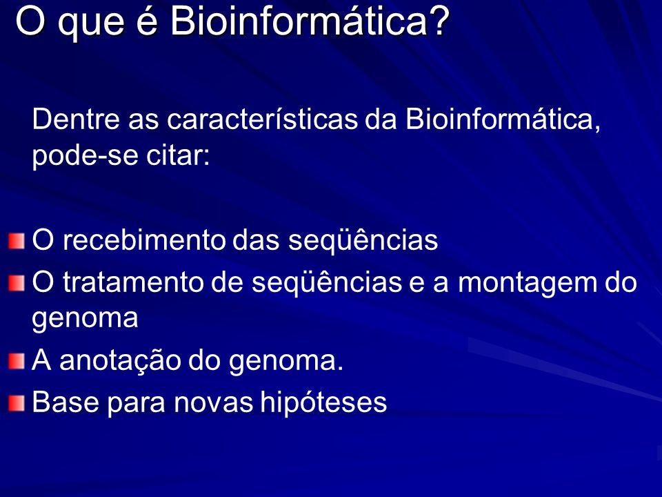 O que é Bioinformática? Dentre as características da Bioinformática, pode-se citar: O recebimento das seqüências O tratamento de seqüências e a montag