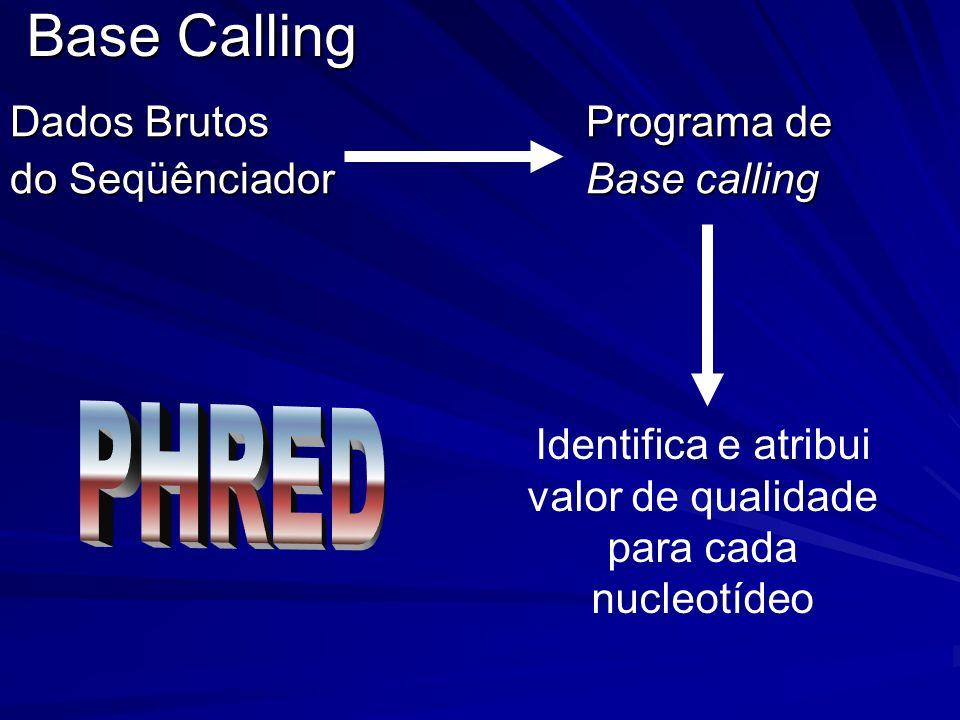 Base Calling Dados Brutos Programa de do Seqüênciador Base calling Identifica e atribui valor de qualidade para cada nucleotídeo