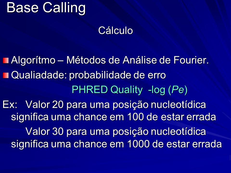 Base Calling Cálculo Algorítmo – Métodos de Análise de Fourier. Qualiadade: probabilidade de erro PHRED Quality -log (Pe) Ex: Valor 20 para uma posiçã