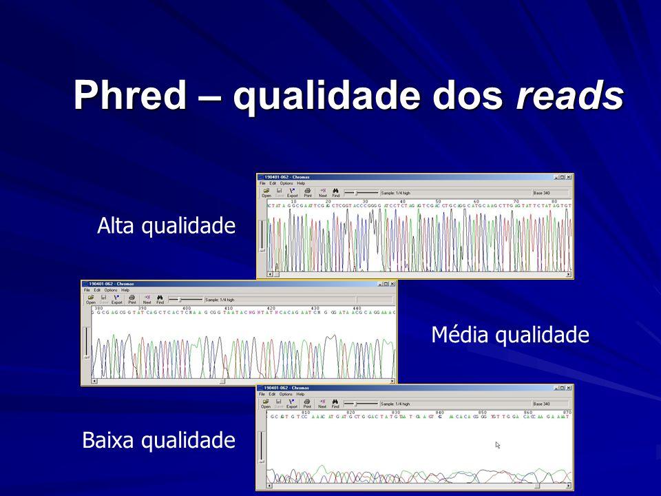 Phred – qualidade dos reads Alta qualidade Média qualidade Baixa qualidade