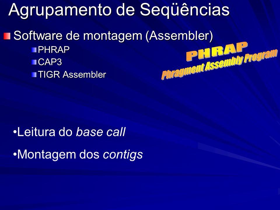 Agrupamento de Seqüências Software de montagem (Assembler) PHRAPCAP3 TIGR Assembler Leitura do base call Montagem dos contigs