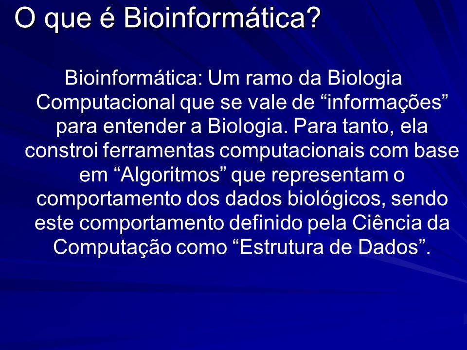 Bioinformática: Um ramo da Biologia Computacional que se vale de informações para entender a Biologia. Para tanto, ela constroi ferramentas computacio