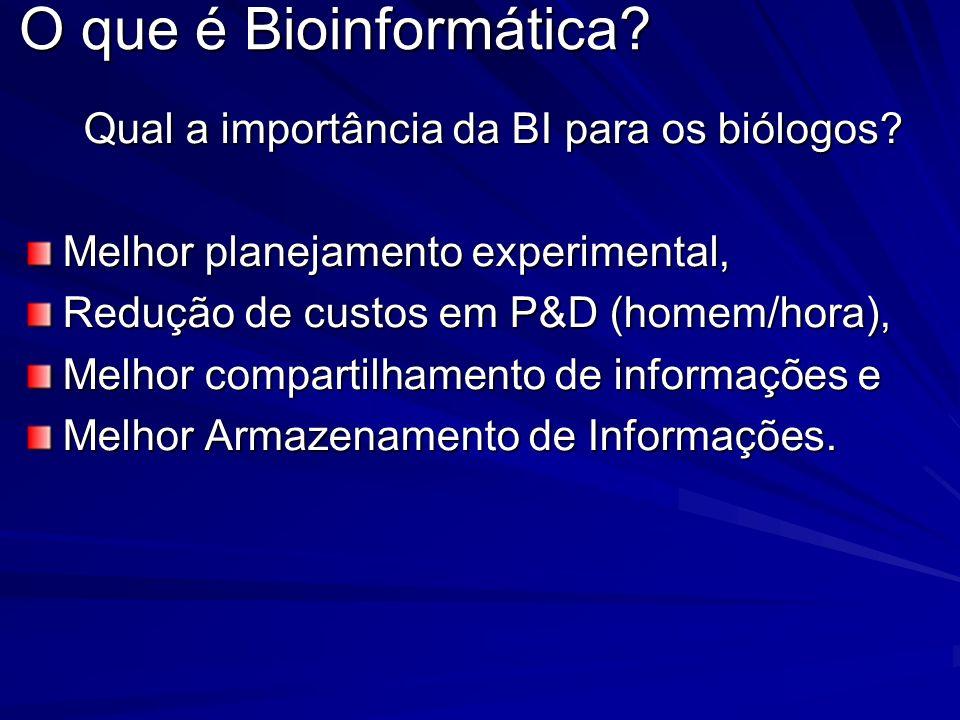O que é Bioinformática? Qual a importância da BI para os biólogos? Melhor planejamento experimental, Redução de custos em P&D (homem/hora), Melhor com