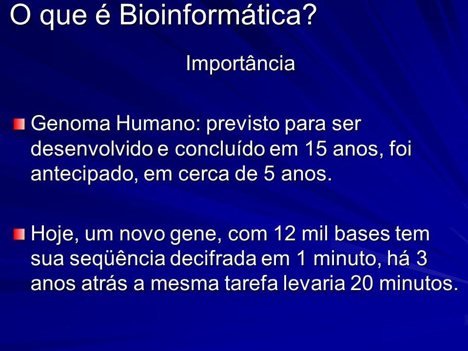 O que é Bioinformática? Importância Genoma Humano: previsto para ser desenvolvido e concluído em 15 anos, foi antecipado, em cerca de 5 anos. Hoje, um