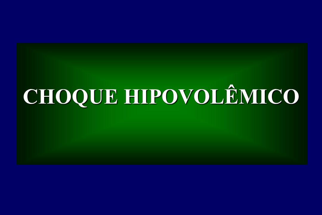 CHOQUE HIPOVOLÊMICO - Utilização De Substâncias Colóides Existe uma idéia de que as moléculas de hidroxietilstarch, de um tamanho apropriado, poderão tampar (efeito oclusivo direto) os locais lesados (lesão microvascular com ruptura do capilar e do endotélio alveolar) e obstruir as perdas através do capilar.