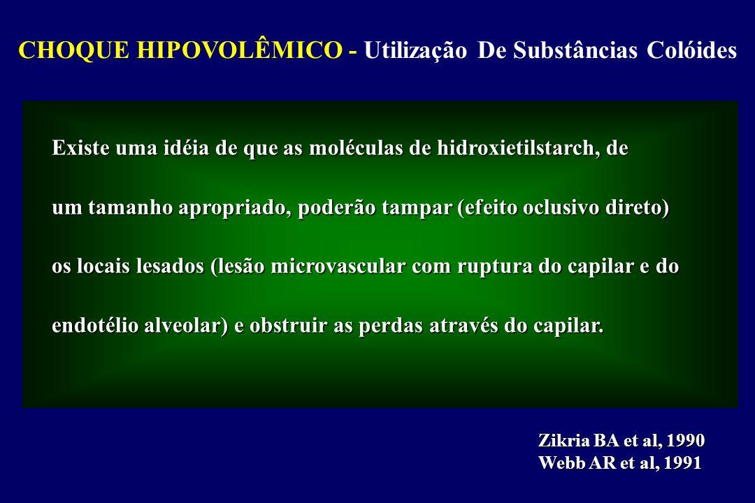 CHOQUE HIPOVOLÊMICO - Tratamento do Choque PCO = ALBUMINA (gr) x 5,5 + GLOBULINA x 1,4 Se PCO - Pcp > 8mmHg o desenvolvimento de EAP é pouco provável; Se PCO - Pcp 4 - 8 mmHg o risco de EAP aumenta significantemente.