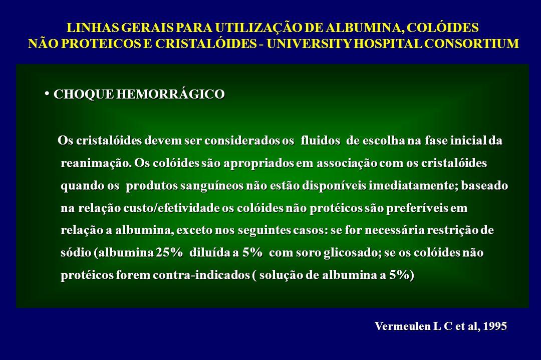 LINHAS GERAIS PARA UTILIZAÇÃO DE ALBUMINA, COLÓIDES NÃO PROTEICOS E CRISTALÓIDES - UNIVERSITY HOSPITAL CONSORTIUM Vermeulen L C et al, 1995 CHOQUE HEM