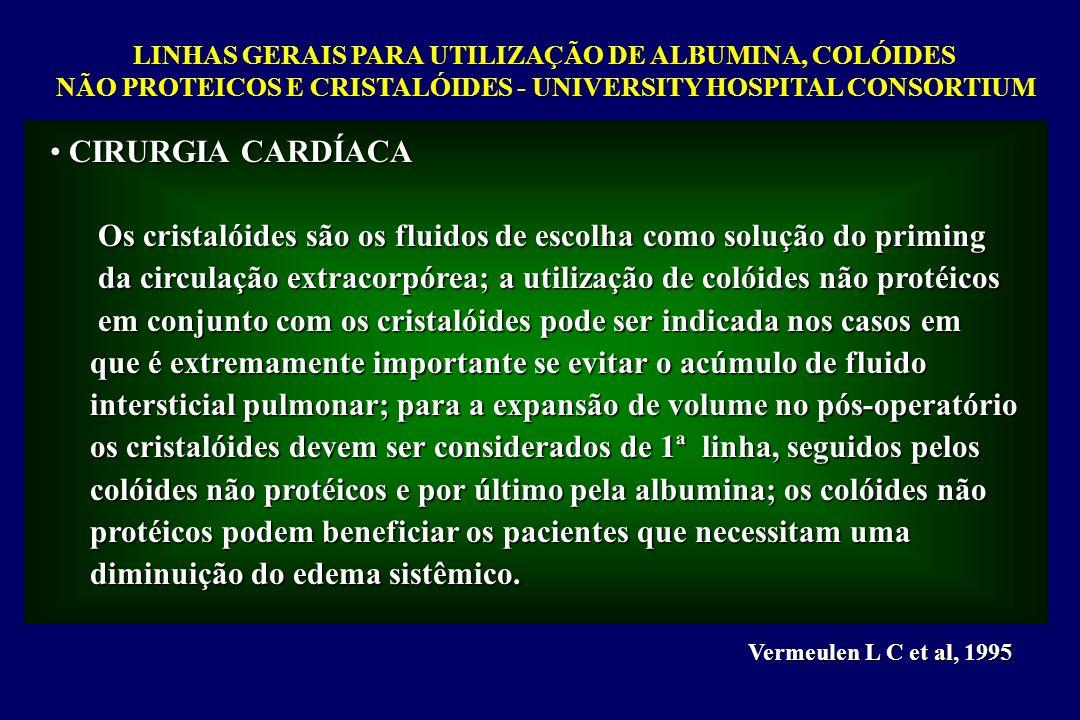 LINHAS GERAIS PARA UTILIZAÇÃO DE ALBUMINA, COLÓIDES NÃO PROTEICOS E CRISTALÓIDES - UNIVERSITY HOSPITAL CONSORTIUM Vermeulen L C et al, 1995 CIRURGIA C