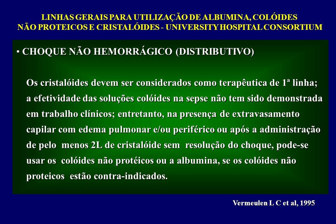 LINHAS GERAIS PARA UTILIZAÇÃO DE ALBUMINA, COLÓIDES NÃO PROTEICOS E CRISTALÓIDES - UNIVERSITY HOSPITAL CONSORTIUM Vermeulen L C et al, 1995 CHOQUE NÃO