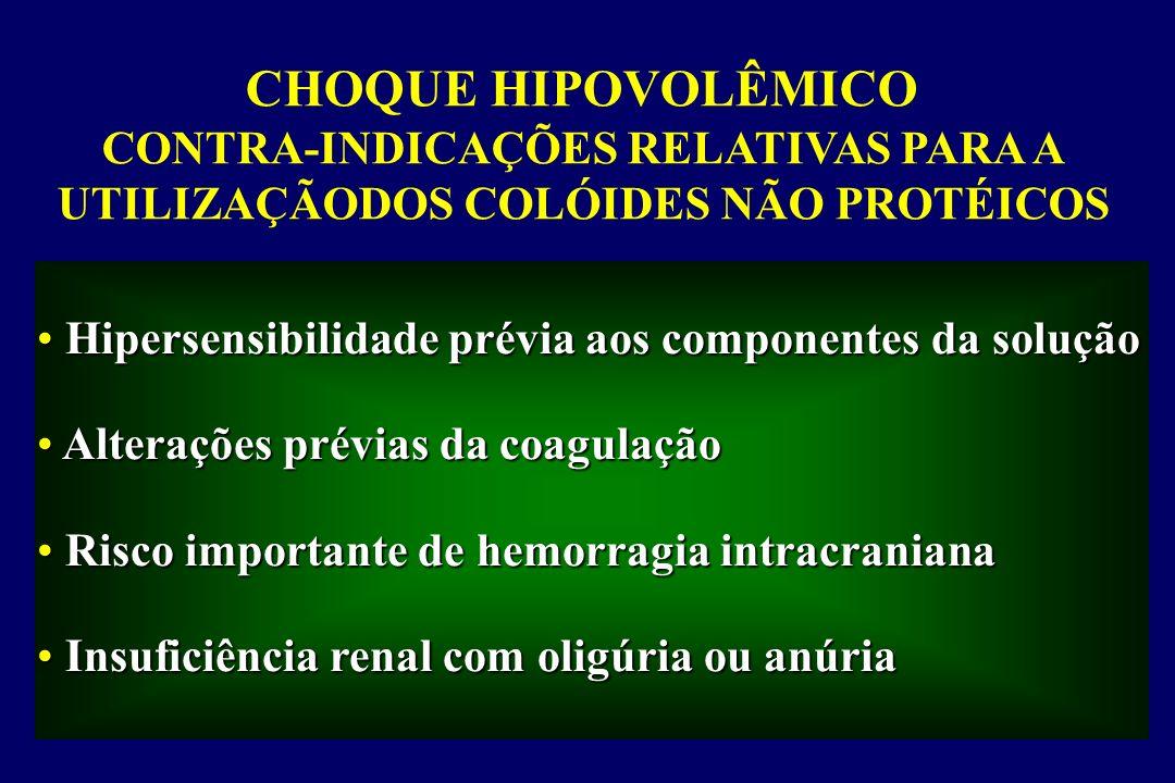 CHOQUE HIPOVOLÊMICO - Albumina Efeitos adversos Induz ou acentua os defeitos de coagulação Induz ou acentua os defeitos de coagulação Tem efeito inotrópico negativo Tem efeito inotrópico negativo Pode piorar a insuficiência respiratória Pode piorar a insuficiência respiratória Aumenta o risco de insuficiência renal Aumenta o risco de insuficiência renal diminui o cálcio ionizado e a relação cálcio diminui o cálcio ionizado e a relação cálcio iônico/cálcio total iônico/cálcio total