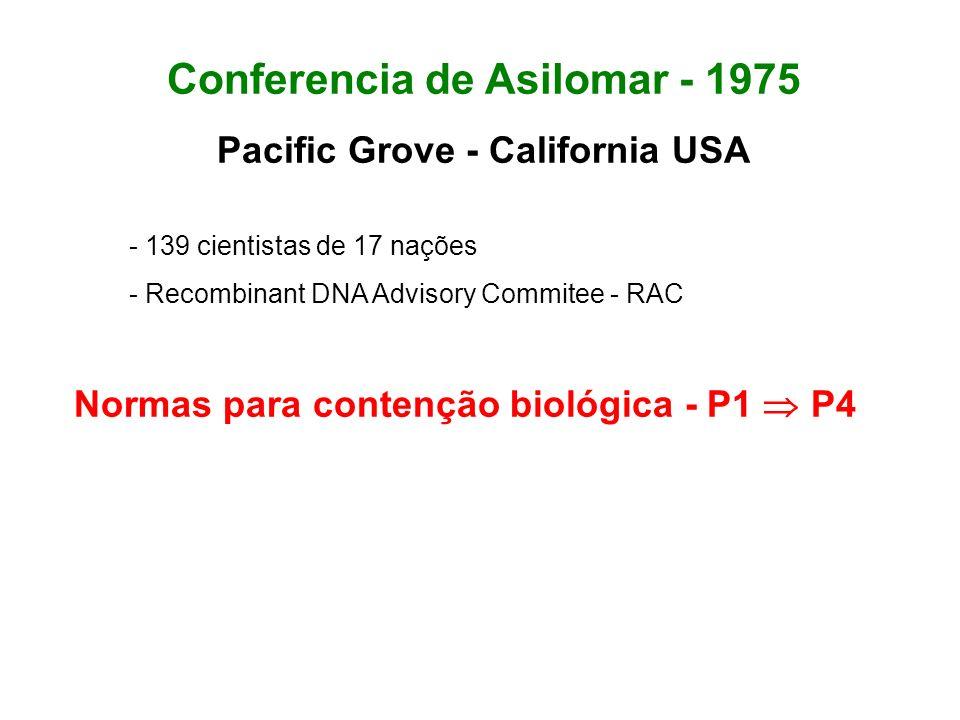 Conferencia de Asilomar - 1975 Pacific Grove - California USA - 139 cientistas de 17 nações - Recombinant DNA Advisory Commitee - RAC Normas para cont