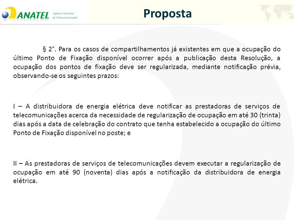 Proposta § 2°. Para os casos de compartilhamentos já existentes em que a ocupação do último Ponto de Fixação disponível ocorrer após a publicação dest