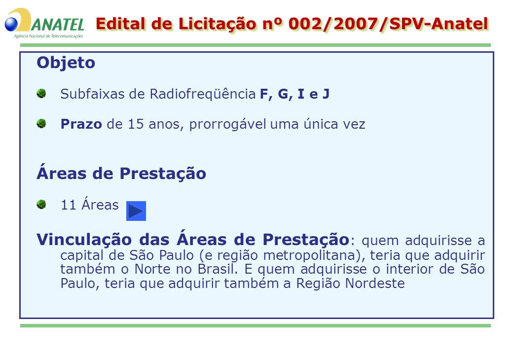 Edital de Licitação nº 002/2007/SPV-Anatel Objeto Subfaixas de Radiofreqüência F, G, I e J Prazo de 15 anos, prorrogável uma única vez Áreas de Presta