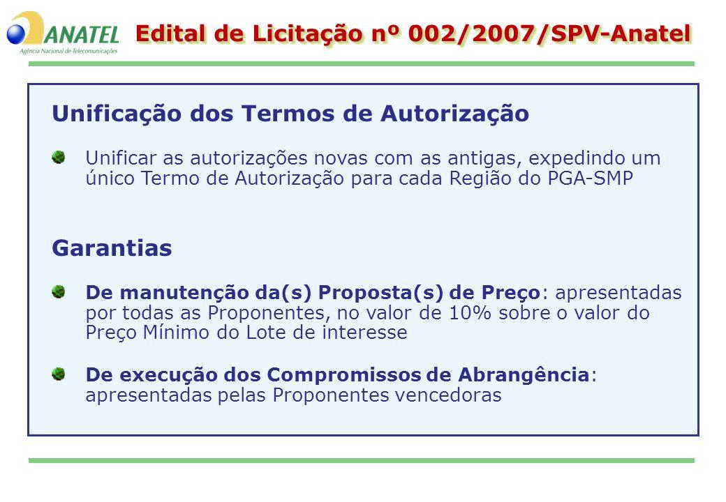 Edital de Licitação nº 002/2007/SPV-Anatel Unificação dos Termos de Autorização Unificar as autorizações novas com as antigas, expedindo um único Term