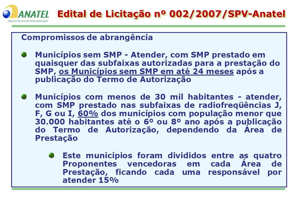 Edital de Licitação nº 002/2007/SPV-Anatel Compromissos de abrangência Municípios sem SMP - Atender, com SMP prestado em quaisquer das subfaixas autor