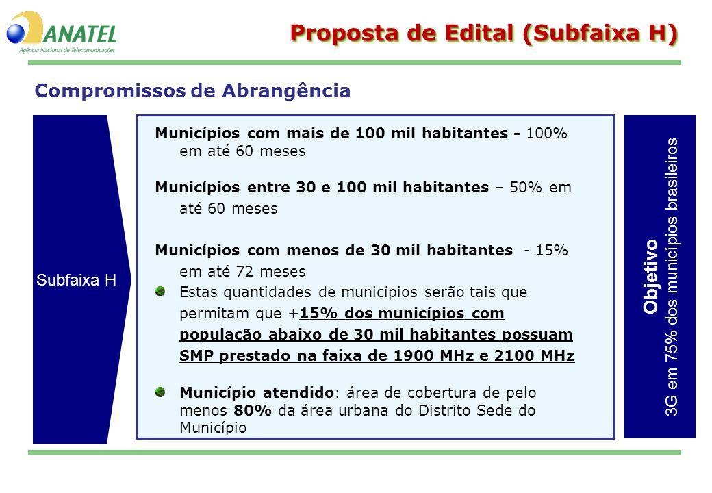 Compromissos de Abrangência Proposta de Edital (Subfaixa H) Municípios com mais de 100 mil habitantes - 100% em até 60 meses Municípios entre 30 e 100