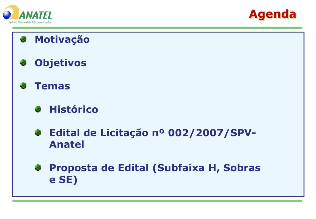 Motivação Objetivos Temas Histórico Edital de Licitação nº 002/2007/SPV- Anatel Proposta de Edital (Subfaixa H, Sobras e SE) Agenda