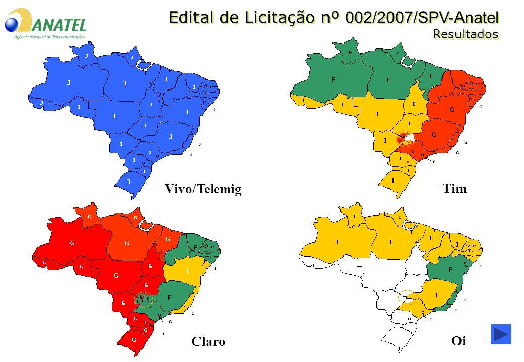 Vivo/Telemig Tim Claro Oi Edital de Licitação nº 002/2007/SPV-Anatel Resultados