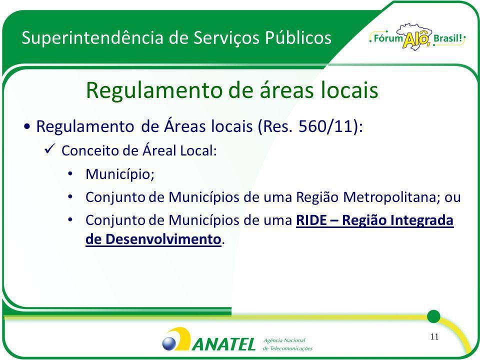 Superintendência de Serviços Públicos Regulamento de áreas locais 11 Regulamento de Áreas locais (Res. 560/11): Conceito de Áreal Local: Município; Co