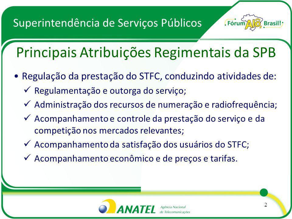 Regulação da prestação do STFC, conduzindo atividades de: Regulamentação e outorga do serviço; Administração dos recursos de numeração e radiofrequênc