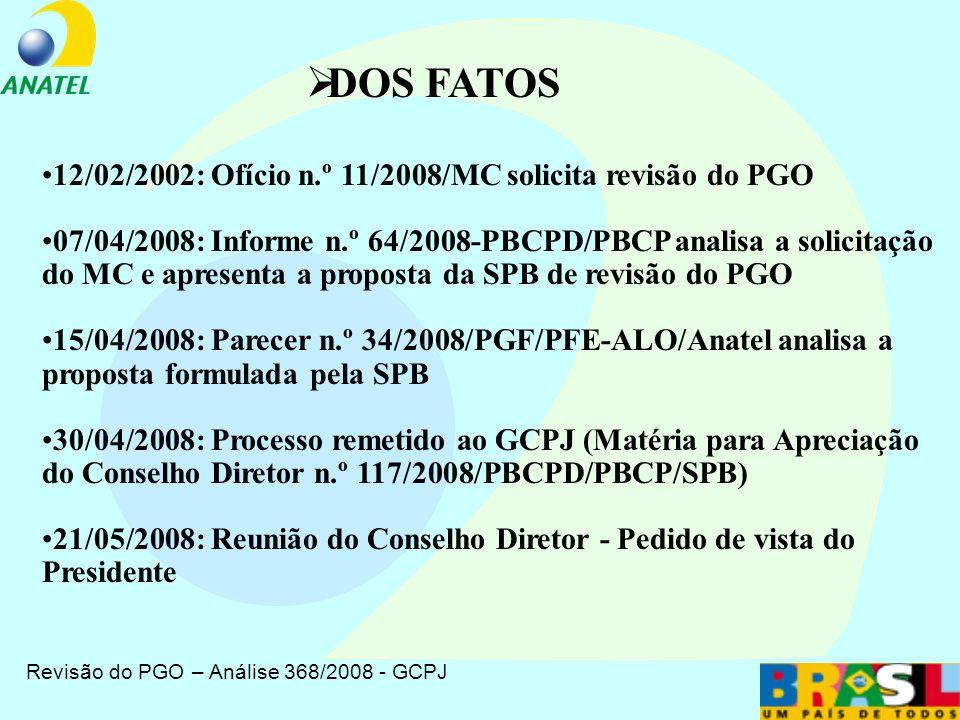 Revisão do PGO – Análise 368/2008 - GCPJ DOS FATOS PARTICIPAÇÃO NAS AUDIÊNCIAS PÚBLICAS CONTRIBUIÇÕES DO PÚBLICO EM GERAL OFÍCIO DO MINISTÉRIO PÚBLICO FEDERAL INFORME DA SUPERINTENDÊNCIA DE SERVIÇOS PÚBLICOS - SPB PARECER DA PROCURADORIA PROPOSTA DA SPB AGENDA – 1ª Parte