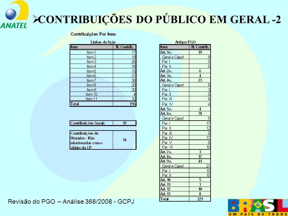 Revisão do PGO – Análise 368/2008 - GCPJ CONTRIBUIÇÕES DO PÚBLICO EM GERAL -1