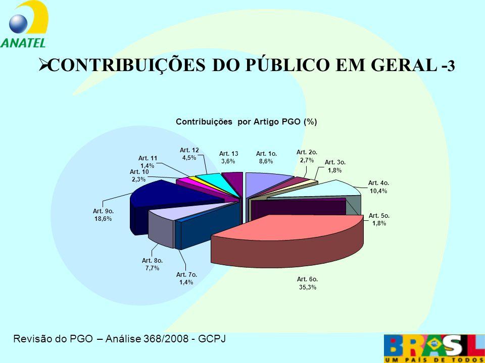 Revisão do PGO – Análise 368/2008 - GCPJ CONTRIBUIÇÕES DO PÚBLICO EM GERAL -2
