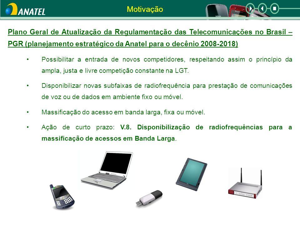 Motivação Plano Geral de Atualização da Regulamentação das Telecomunicações no Brasil – PGR (planejamento estratégico da Anatel para o decênio 2008-2018) Possibilitar a entrada de novos competidores, respeitando assim o princípio da ampla, justa e livre competição constante na LGT.