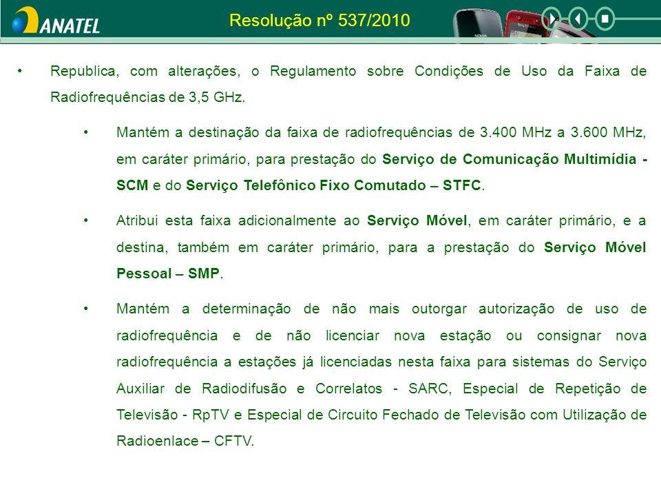 Resolução nº 537/2010 Republica, com alterações, o Regulamento sobre Condições de Uso da Faixa de Radiofrequências de 3,5 GHz.