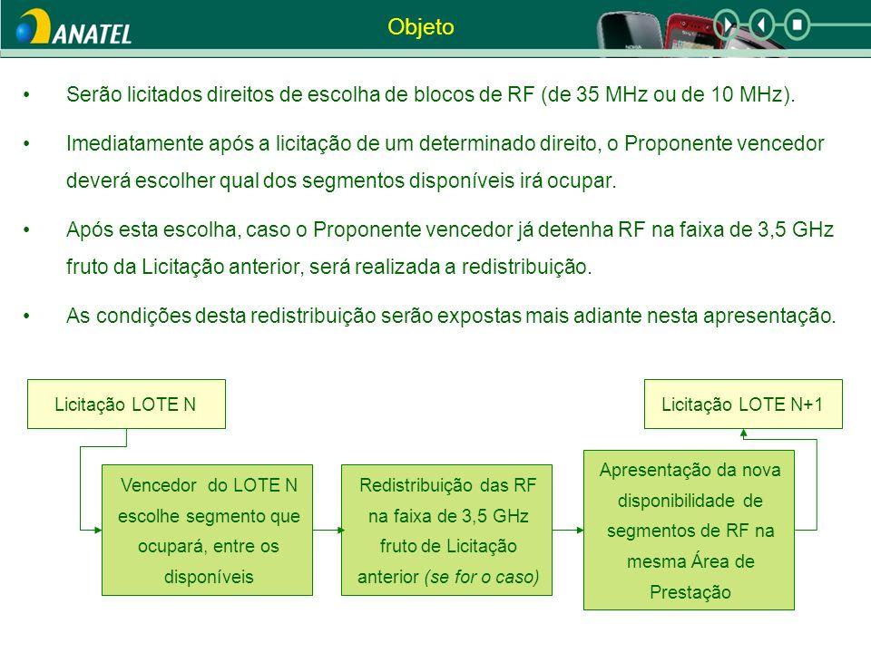 Objeto Serão licitados direitos de escolha de blocos de RF (de 35 MHz ou de 10 MHz). Imediatamente após a licitação de um determinado direito, o Propo