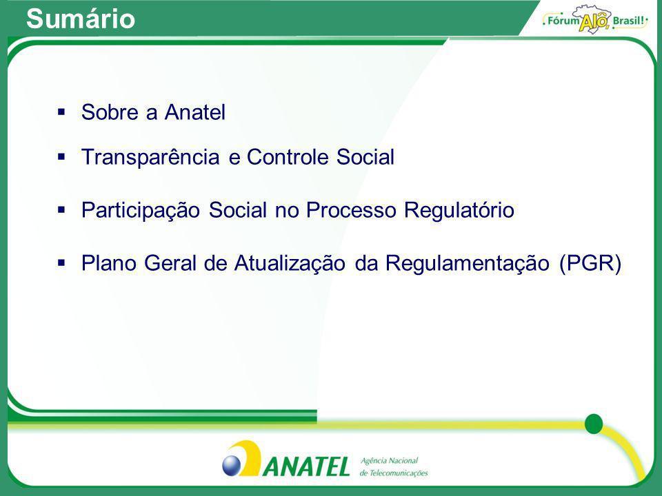 Sobre a Anatel Transparência e Controle Social Participação Social no Processo Regulatório Plano Geral de Atualização da Regulamentação (PGR) Sumário