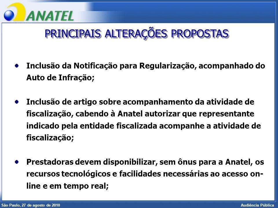 Superintendência de Radiofreqüência e Fiscalização Brasília, 12 de setembro de 2006 São Paulo, 27 de agosto de 2010 Audiência Pública Inclusão da Noti