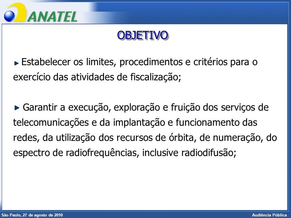 Superintendência de Radiofreqüência e Fiscalização Brasília, 12 de setembro de 2006 São Paulo, 27 de agosto de 2010 Audiência Pública Estabelecer os l